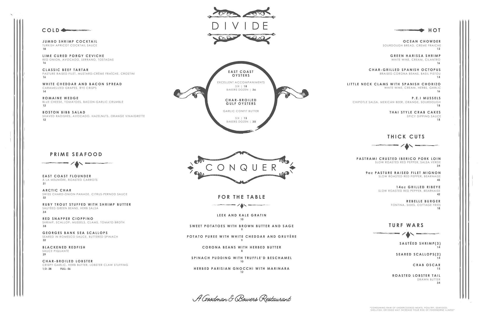 New Dinner, Drink and Brunch Menus